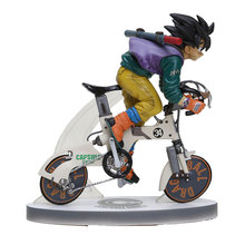 Anime Dragon Ball Z Goku Riding Bicycle Desktop Real McCOY Series 2 Action Figure PVC Model Toys 16cm Doll(China)