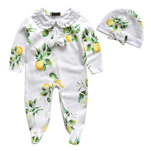 new brand Newborn baby Romper with hat Lemon baby one piece clothes