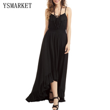 2017 Black Solid Ruffle Lace Up High Low Dresses Backless V Neck Women Summer Strap Beach Party Maxi Dress Slim Robe H61510