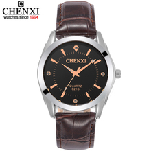 Original CHENXI men's Leather watches Brown strap, rose gold time scale With diamonds fashion quartz clocks and watch for gift(China)