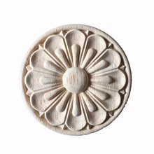 30CM Wood Onlay Applique Wooden Oak Woodcarving Decal Wood Carved Corner Frame Furniture Decorative Sculptures Wood Appliques(China)