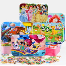 60pcs/set Wooden Puzzle Cartoon 3D Wood Puzzle Jigsaw wood toys for Children Early Educational Montessori Toys (with Iron Box)(China)
