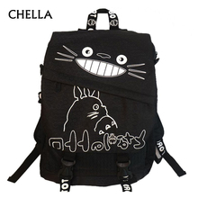 Teenager Totoro Backpack Canvas Hayao Miyazaki Boys Anime School Bags Girl Cartoon A4 Book Bag Children Schoolbag Mochila BP0174(China)