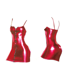 New Sexy Zipper Type Wet Look Patent Leather Party Costume Sexy Girl Hot Club wear Women Nightdress Party PVC Dresses(China)