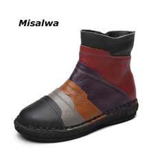 Buy Misalwa Autumn Winter Mixed Color Women Boots Retro Casual Handmade Zipper Ankle Boots Flat Real Genuine Leather Women Shoes for $36.18 in AliExpress store