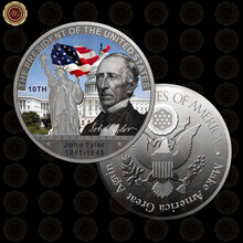 WR Luxury Home Decor American Coin Home Decorative US President John Tyler Memory Art Ornament for Decoration Crafts for Gifts