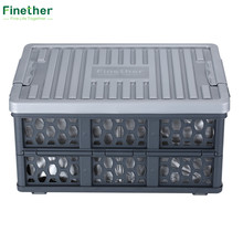 Finether Storage Box Collapsible Utility Plastic Waterproof Box Basket Storage Container Crate for Kitchen&Restaurant