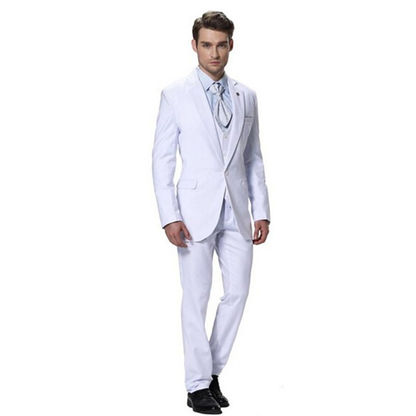 White Color Bridegroom Best Groomsmen Wedding Tuxedo Custom Peaked Lapel Men Wedding Suits( jacket+Pants+Vest+tie)