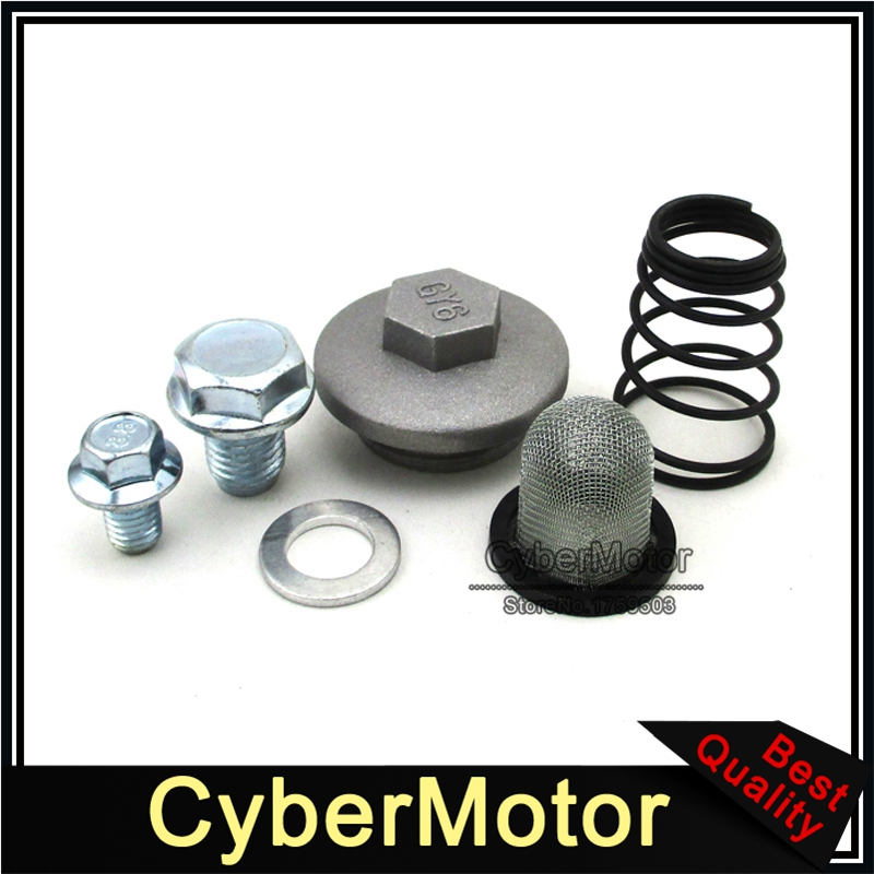 GY6 Oil Strainer Replacement Kit Screen Cap Seal Spring Chinese Scooter Parts