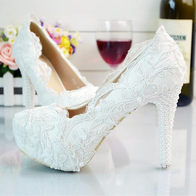Women Fashion White Wedding Pumps Sweet White Flower Lace Platform High-heeled Pump Shoes Pearl Wedding Shoes Bride High Heels<br>