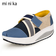 MINIKA New 2017 Spring Autumn Women Flats Patchwork Patchwork Women Flat Shoes Casual Canvas Platform Female Loafers SNE-771(China)