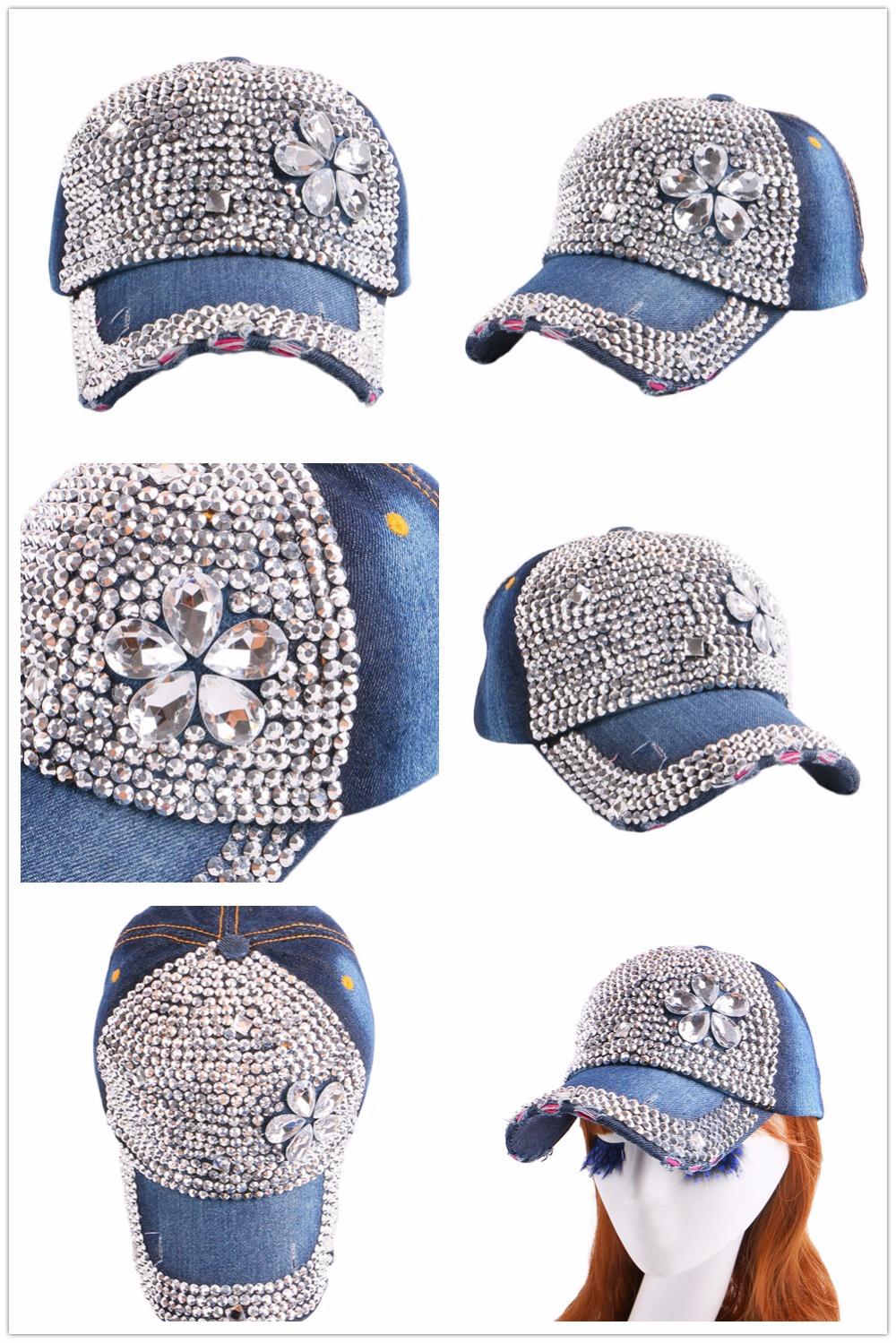 High Quality WOMEN brand baseball cap new fashion rhinestone crystal denim snapback caps wholesale woman hip hop snapbacks hats 14