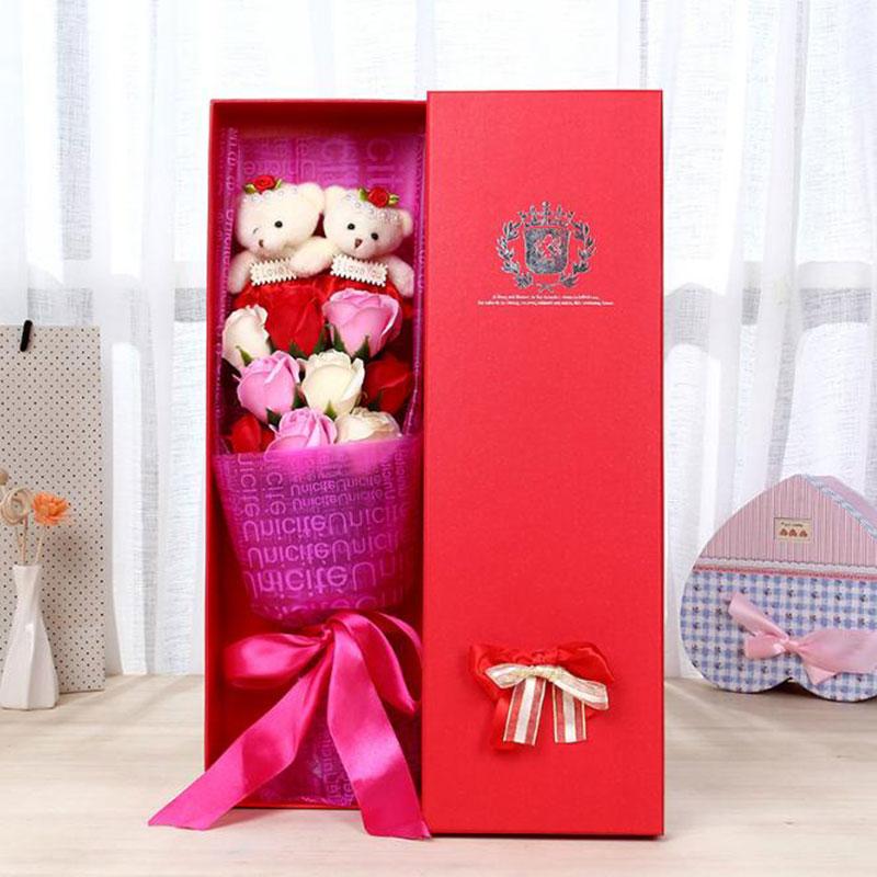 2Pcs New 2017 Handmade Teddy Bear Bouquet Flower Wedding Soft Plush Toy Bouquet Cartoon Doll Fake Rose Love Gift<br><br>Aliexpress