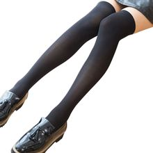1 Pair Women Velvet Knee High Stockings Thigh High Opaque Stockings with Solid Color(China)