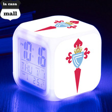80*80*80mm Square LED Alarm Clock La Liga soccer/Football Watch Real Club Celta de Vigo, S.A color Flash Digital clock(China)