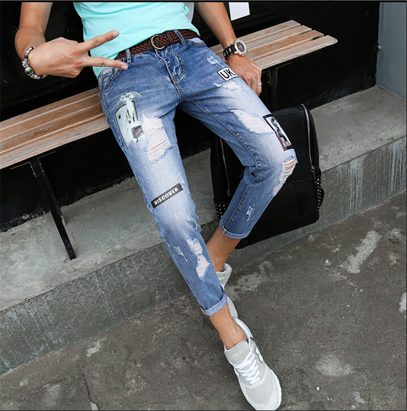 2016 new arrive pure cotton Hole tear men fashion beggar jeans male casual slim vintage denim jeans Plus Size 28-34Îäåæäà è àêñåññóàðû<br><br>