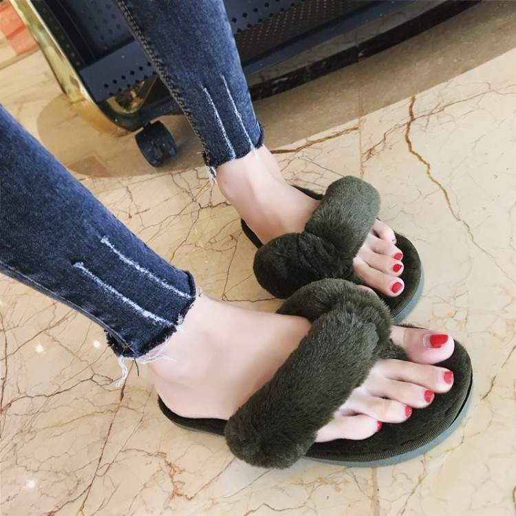 Winter Fashion Women Home Slippers Faux Fur Warm Shoes