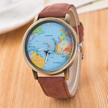Women Leather World Map Watch Fashion Plane Rotary Printing Ladies Cowboy Dress Quartz Wrist Watches for Women Ladies
