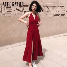 Buy Affogatoo Sexy v neck backless jumpsuit romper Halter lace high waist women jumpsuit Split wide leg summer jumpsuit overalls