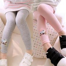 COCKCON New Kids Toddler Warm Leggings Baby Girls Embroidery Bird Pattern Stretchy Cotton Pants Cute Trousers