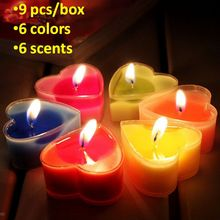 9pcs aroma candle scented fragrance candle wax heart shape romantic candle smokeless 6 colors 6 incense burning time 2 hours(China)