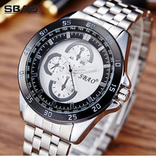 SBAO Brand Factory Sale Men Quartz Watch Boy Sports Stainless Steel Wristwatch Male Round Dial Business Watch Water Resistant(China)