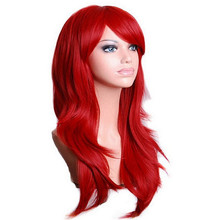 QQXCAIW Long Wavy Cosplay Red Green Puprle Pink Black Blue Sliver Gray Blonde Brown 70 Cm Synthetic Hair Wigs