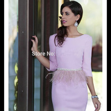 Lavender Sheath Scoop 3/4 Sleeves Open Back Satin Beaded Feather Sexy Special Occasion Cocktail Dresses Homecoming Dresses 2017