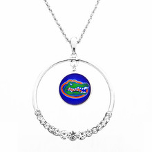 Necklace Women Necklace Pendants with chain all team NCAA Florida Gators Football Fans Gifts round top CZ crystal necklace(China)