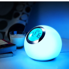 Led Table Lamp Light Color Changing Night Light Led Mood Light LivingColors with Natural Sound Digital Alarm Clock Snooze(Hong Kong)