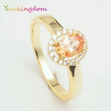 Yunkingdom Delicate oval design small rings female  zircon crystal fashion jewelry