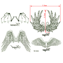 Angel wings waterproof temporary tattoos stickers sex products men and women Neck back and arm tatoo taty henna metallic tattoo