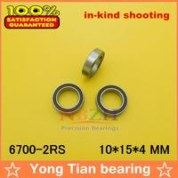 10pcs/lot ABEC-3 Z2V1 High quality double rubber sealing cover miniature deep groove ball bearing 6700-2RS 10*15*4 mm