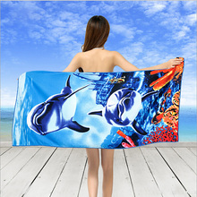 Fashion Animal Pattern Beach Towel Microfiber Fabric Reactive Printing Big Size Women Towel 70*150cm with High Quality