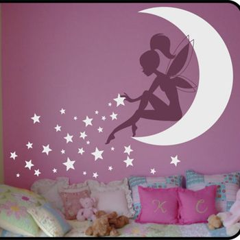 High quality Large size vinyl wall stickers fairy , kids wall stickers fairy ,Pixie Dust Stars vinyl decals free shipping K2065