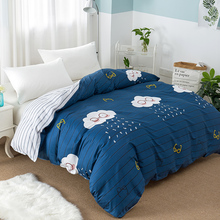 100% Cotton duvet cover blue white cloud cartoon fashion children blanket cover twin full queen king double size quilt cover(China)