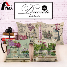 Romantic Flowers Brocade European Cotton Linen Sofa Cushion Cover Pillowcase Bay Window Decorated With Pillowcases Wholesale(China)