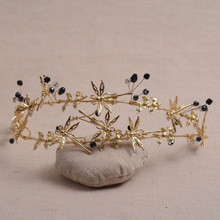 Dragonfly Tiara black Handmade black Crystal Hairwear Golden Jewelry bridal wedding Crown Party Hair accesories For bridesmaid(China)