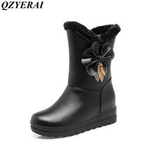 QZYERAI new arrival winter warm rabbit hair snow boots short tube young fashion women's shoes flat shoes(China)