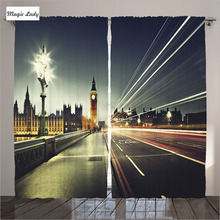 Curtains London England Decor Collection Big Ben Westminster Evening Grey Black Gold Living Room Bedroom 2 Panels Set 145*265 sm