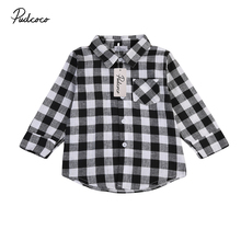 pudcoco 1-7Y Baby Kids Boys Girls Long Sleeve Shirt Plaids BLACK white plaid Checks Tops Blouse Casual shirts Clothes(China)