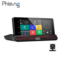 "Phisung V50 7""Touch Android 3G Rearview Mirror DVR GPS WIFI car video recorder auto dash camera FHD 1080P Dual Camera ROM 16GB"