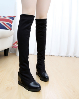 Free shipping 2015 womens boots within increased barreled Spring jackboot new flat boots plus velvet elastic cloth<br><br>Aliexpress