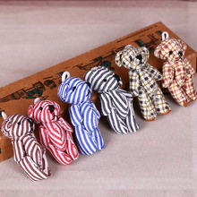 50Pcs/Lot Kawaii Striped Lattice Style Pendant Teddy Bear Peluches Soft Mini Joint Plush Toy High 4.5CM Variety Color Wholesale