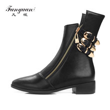 Fanyuan 2017 Autumn/Winter Ankle Women Boots Chelsea Boots Zipper Metal Decoration Low Heels Thick Heels Pointed Toe Women Shoes(China)