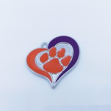 Skyrim 10pcs Schools Clemson Tigers football Enamel Charms Pendants College team logo Fashion charm for jewelry making Cool Gift(China)