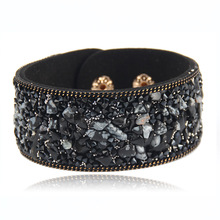 Paris Fashion Woman Bangle Bracelet,Magnetic clasp Leather Crystal Stones Jewelry Italian design Crystal Gravel bracelet BC