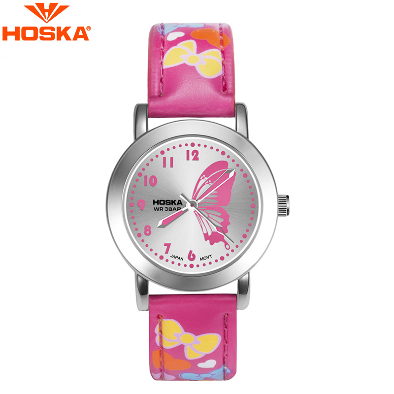 HOSKA Lovely Butterfly Chidrens Watches Quartz Wristwatch for Girls 2016 Fashion Wrist Watch Bowknot Band Waterproof Watch<br>