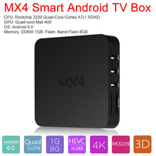 MX4 Smart Android 6.0 TV Box RK3229 Quad Core 1G / 8G DLNA UHD 4K 3D H.265 WiFi HD Media Player with Remote Control(China)