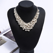 Crystal Women Necklaces Sweater Winter Clothes Jewelry New 2017 Round Simulated Pearl Party Fashion Jewelry CZ Diamonds Necklace